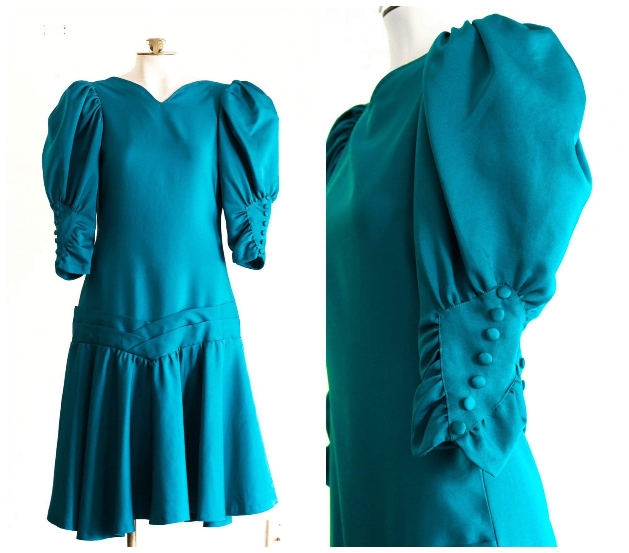 1980s teal prom dress with dropped waist and bow detail   Prom ...