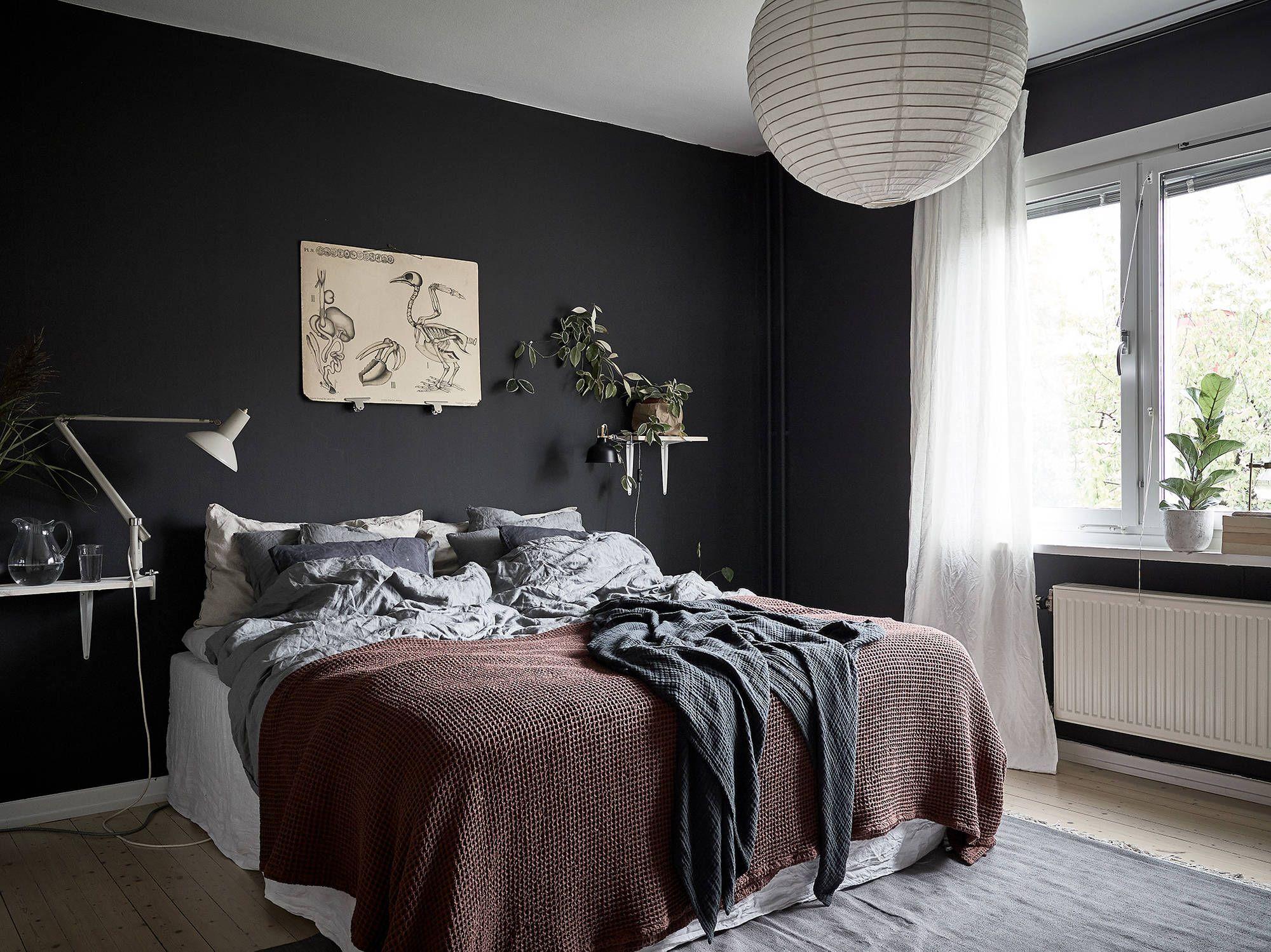 Zwarte Slaapkamer Muur : Fijne combi een zwarte slaapkamer en heel veel planten