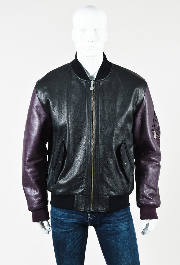 MENS McQ Alexander McQueen Black Purple Leather & Knit