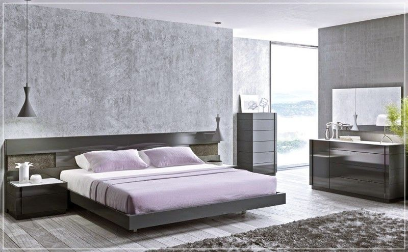 Luxury Design Grey Master Bed Contemporary Bedroom Furniture