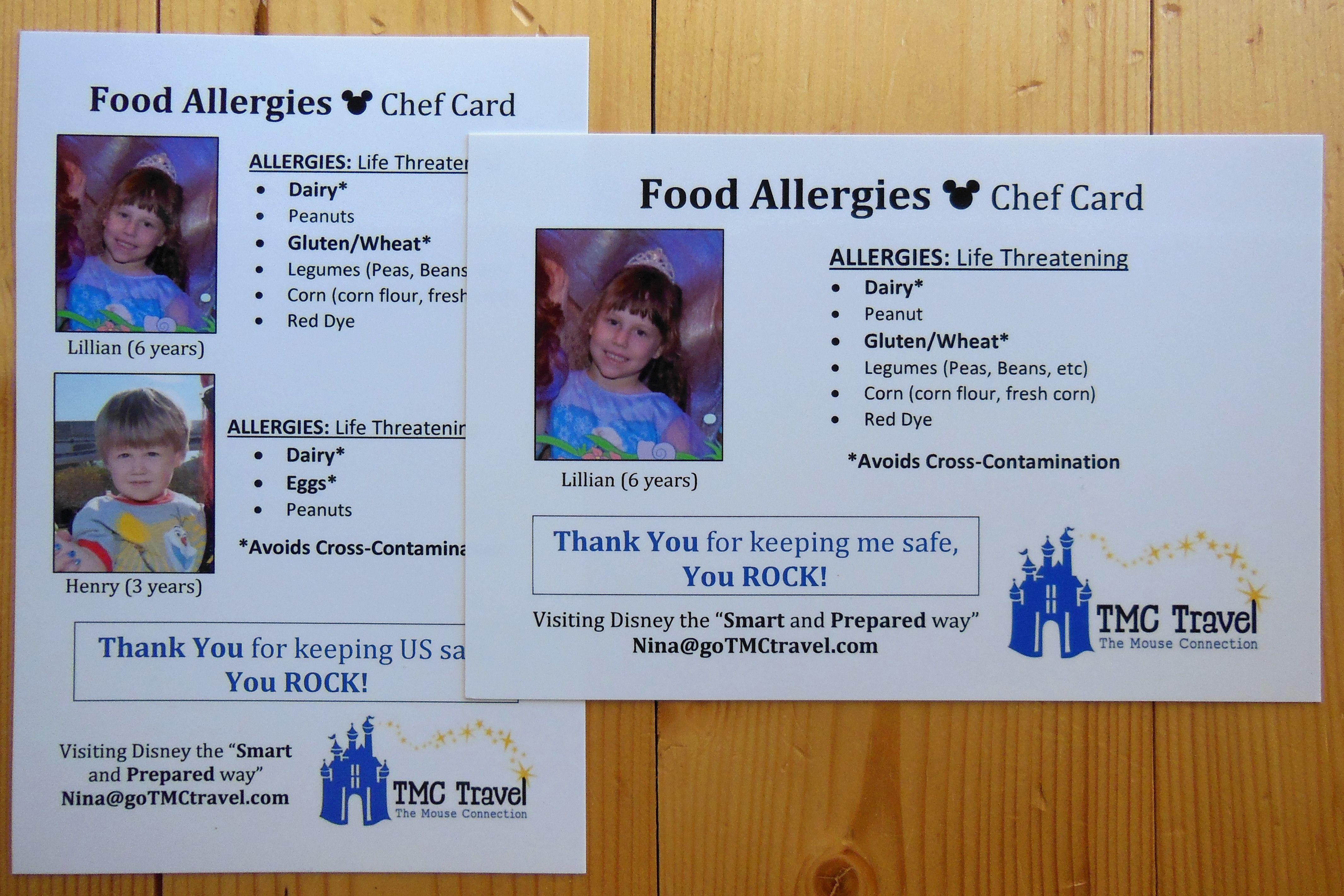 Food Allergy Chef Cards - FREE for my clients. Book a trip today ...