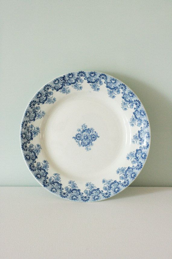 French Vintage Ceramic Plate with Blue Flower by Chezpetitpica & French Vintage Ceramic Plate with Blue Flower by Chezpetitpica ...