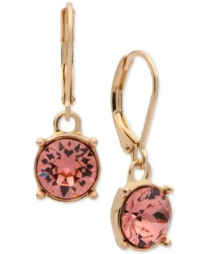 Anne Klein Swarovski Crystal Drop Earrings - Orange