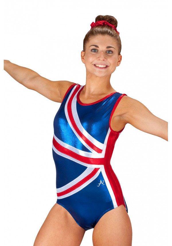 718b52ef5300 Girls Union Jack Gymnastics & Trampolining Leotard Sleeveless ...