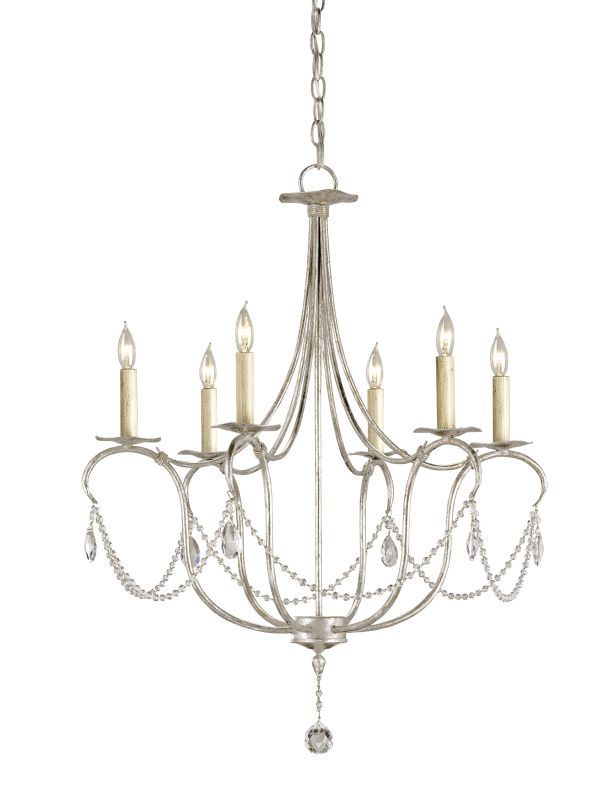 Currey And Company 9890 6 Light Wrought Iron Small Crystal Lights Chandelier Silver Leaf Indoor Lighting