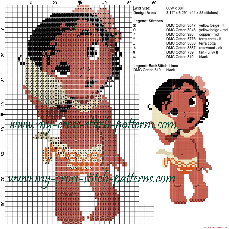 Baby Moana cross stitch pattern | cross stitch patterns | Pinterest ...