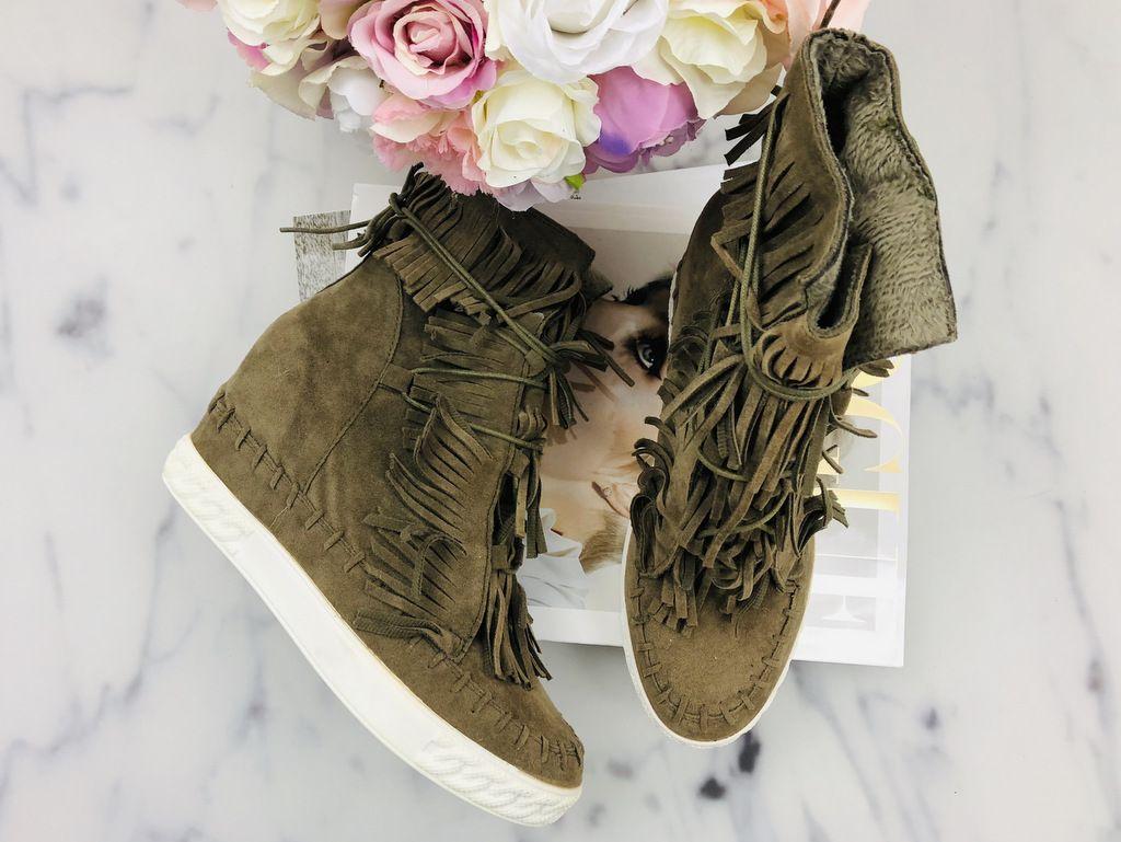 Botki Boho Z Fredzlami Khaki Timberland Boots Boots Fashion