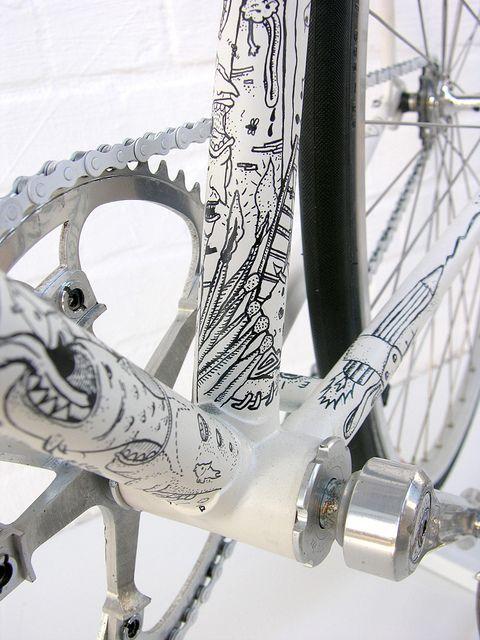 Illustrated Fixed Gear Fahrrad Malerei Fixed Gear Bikes