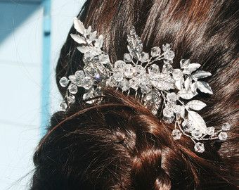 Floral style Flowers and Leaves Silver Haircomb Wedding Bridal Hairstyle Handmade