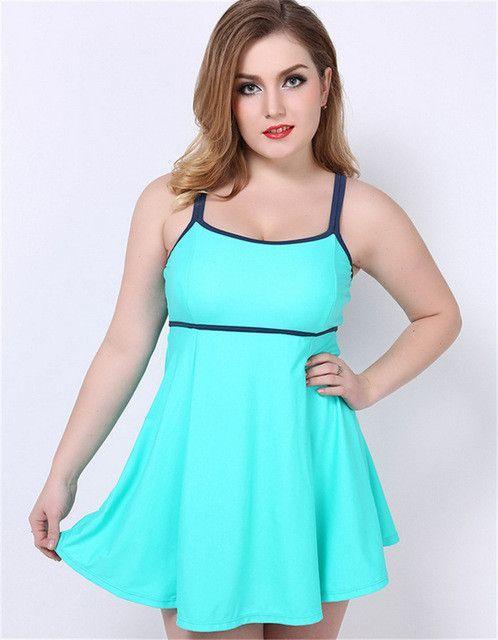 New Women Plus Size One Piece Bathing Suit Dress Swimsuit Swimwear