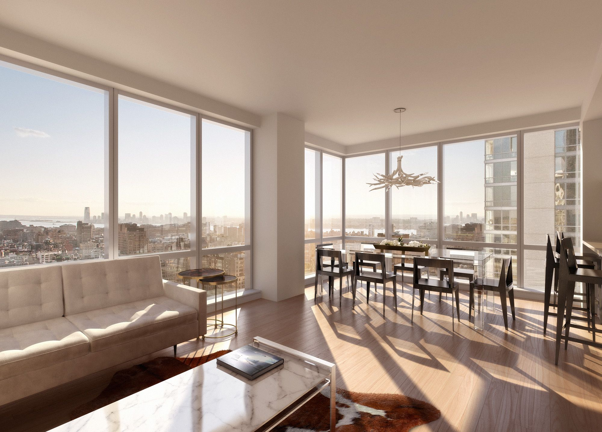 Apartments,Marvelous Manhattan Penthouse Apartement Design Inspiration With  Charming White Leather Sofa And Luxurious White Granite Also Comfort Dining  Room ...