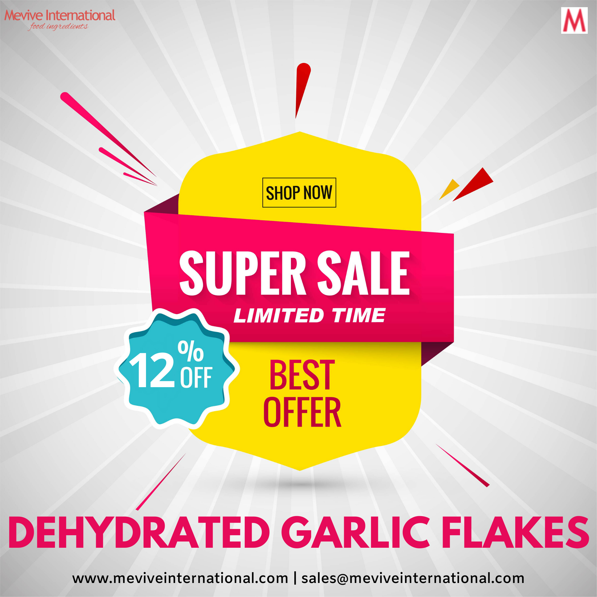 It's time to Save 12% of your Garlic Flakes procurement cost. Grab our SUPER SALE deals now!  Submit Requirement >> Get Free Samples >> Raise PO  Visit: www.meviveinternational.com | sales@meviveinternational.com  #garlicflakes #dehydratedgarlic #driedgarlicflakes #garlicflakessupplier #garlicflakesexporter #masala #spicecompany #sauce #readytoeat #premix #instantfood #readytocook #foodingredients