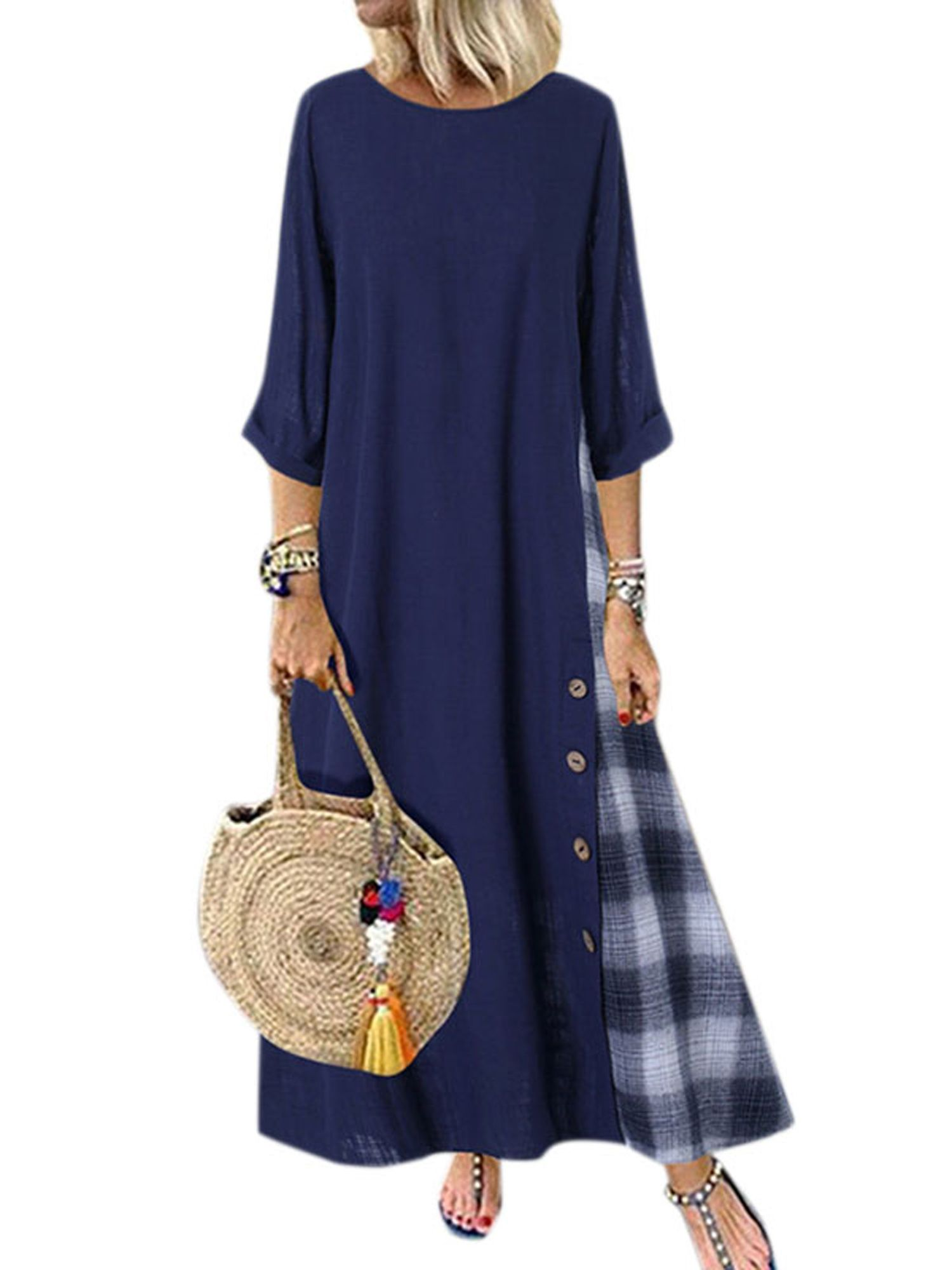 Wodstyle Women S Plus Size 3 4 Sleeve Casual Plaid Loose Kaftan Long Maxi Dress Walmart Com Plus Size Maxi Dresses A Line Dress Street Chic [ 2000 x 1500 Pixel ]