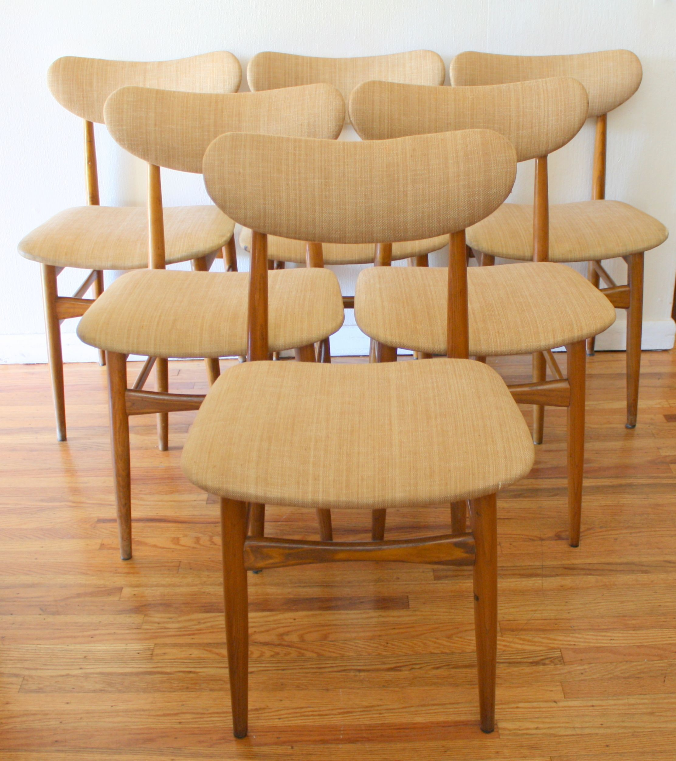Mid Century Modern Set Of 6 Upholstered Dining Chairs Midcentury