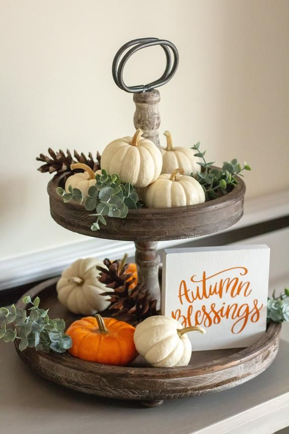 Thanksgiving Home Office Interior Design: Autumn Gifts-Tiered Tray Sign-Fall Table Decor-Fall Home