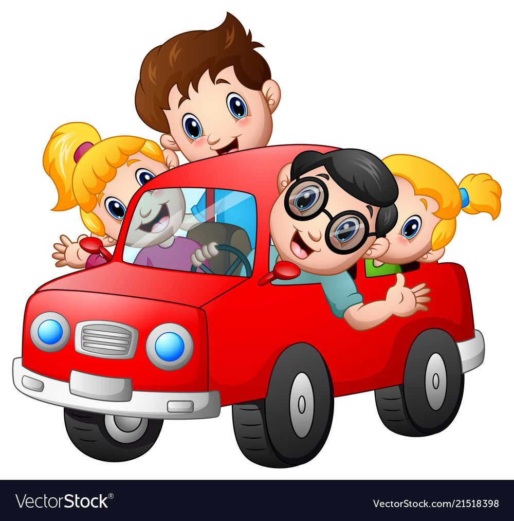 Happy Family Travelling With Car Vector Image On Adesivos