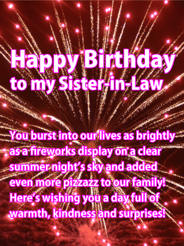 Pink Fireworks Happy Birthday Card For Sister In Law Birthday Greeting Cards By Davia Sister Birthday Card Birthday Wishes For Sister Happy Birthday Dear Sister