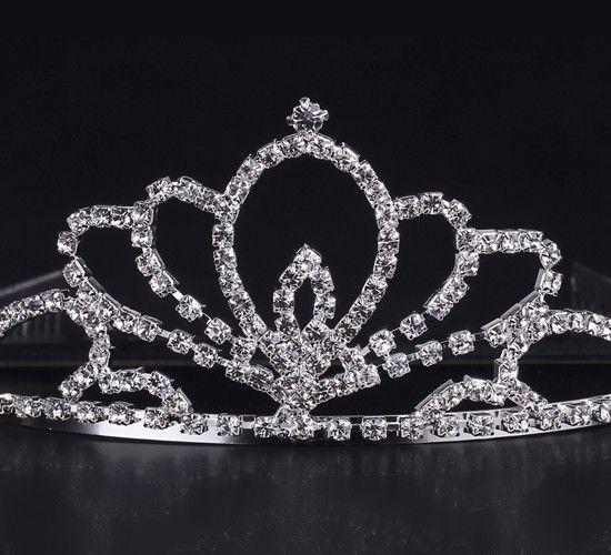 Blooming Flower Shape Shiny Rhinestone Girl Wedding Prom Tiara Crown Headband