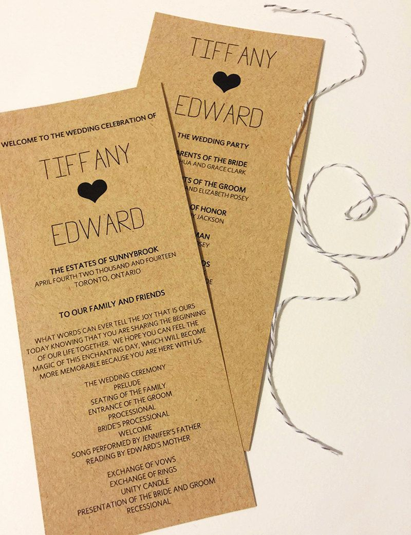 Heart Wedding Ceremony Program