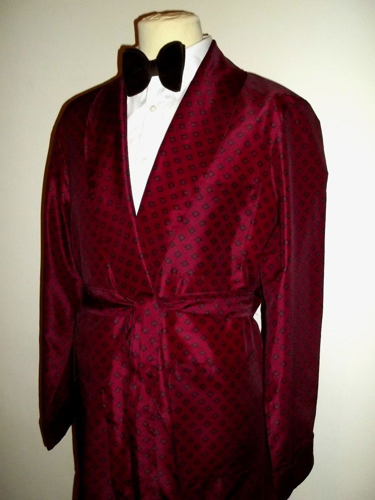 Vtg 80s Buckingham of London Mens Smoking Jacket Dressing Gown Robe ...