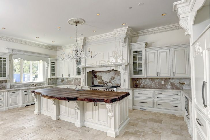 White Kitchen With Carved Wood Molding And Acanthus Leaf Corbels   Stunning  Kitchen   White Kitchen