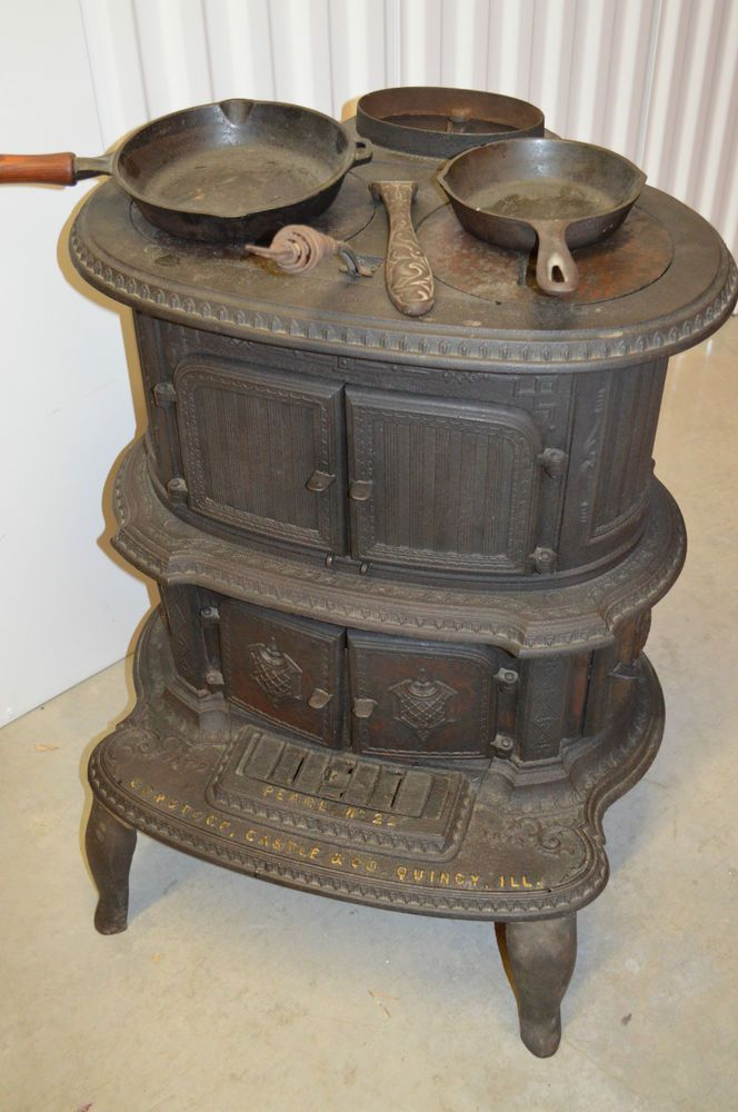 RARE ANTIQUE ORNATE CAST IRON WOOD BURNING PARLOR STOVE WITH ACCESSORIES.  #COMSTOCKCASTLECO - RARE ANTIQUE ORNATE CAST IRON WOOD BURNING PARLOR STOVE WITH
