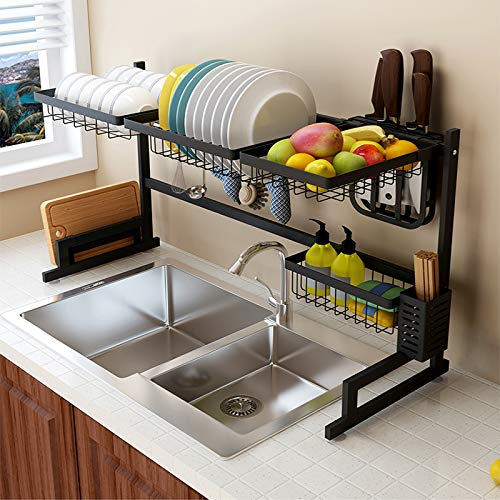 Amazon Com The Stainless Steel Drying Rack Over The Sink Double Layer Dish Rack Kitchen Storage Cabine Diy Kitchen Storage Kitchen Renovation Kitchen Design