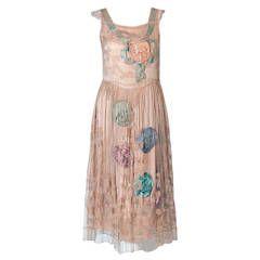 1920's Callot Soeurs Attributed Silk-Ribbon Rosettes Filet-Lace Flapper Dress