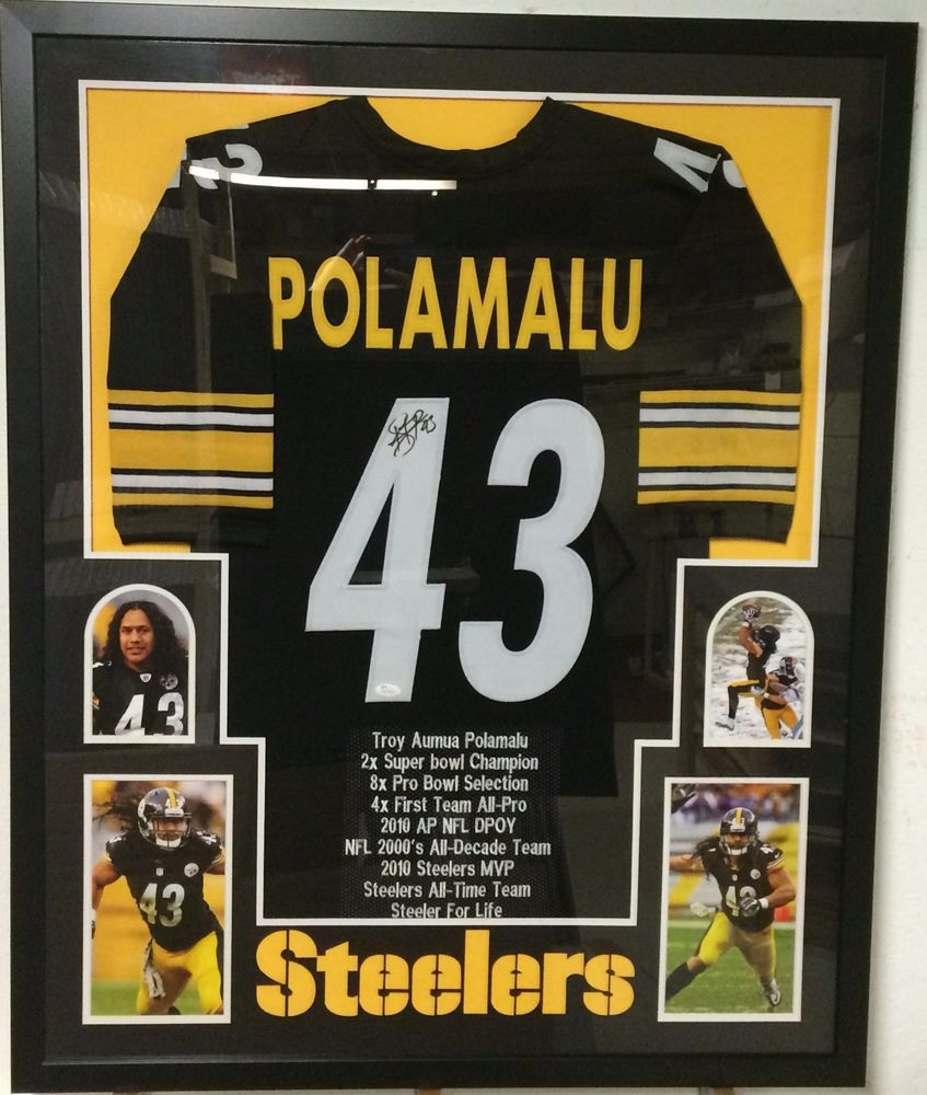 86e3b41b6bf FRAMED TROY POLAMALU SIGNED PITTSBURGH STEELERS STAT JERSEY JSA W  AUTHENTICATED