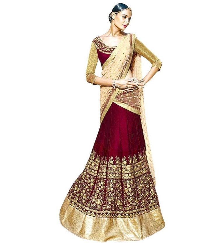 MEHROON AND GOLDEN BRIDAL LEHENGA UNDER RS 5000 | Women All Fashion ...