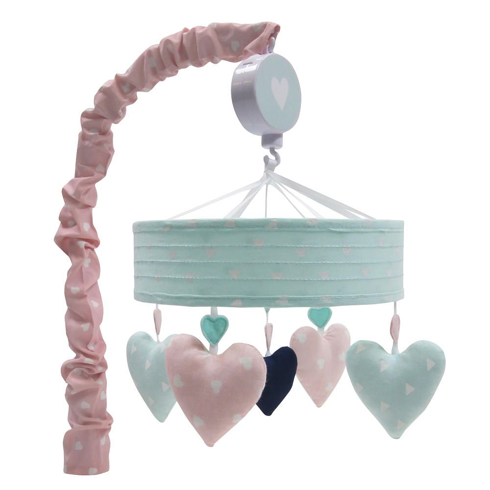 Twirling Hearts Decorate The Wide Banded Musical Mobile Which Plays Brahms Lullaby The Mobile Fits All Standard And Most Convertible Cribs Musical Mobile Baby Crib Mobile Baby Cribs