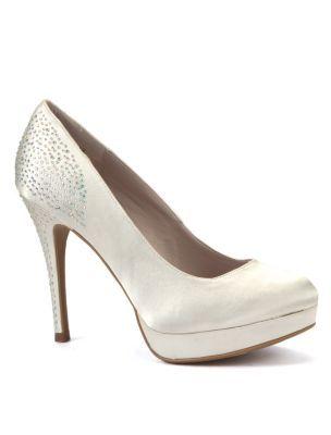 3a487da0603356 Ivory Satin Diamante Heel Bridal Court Shoes