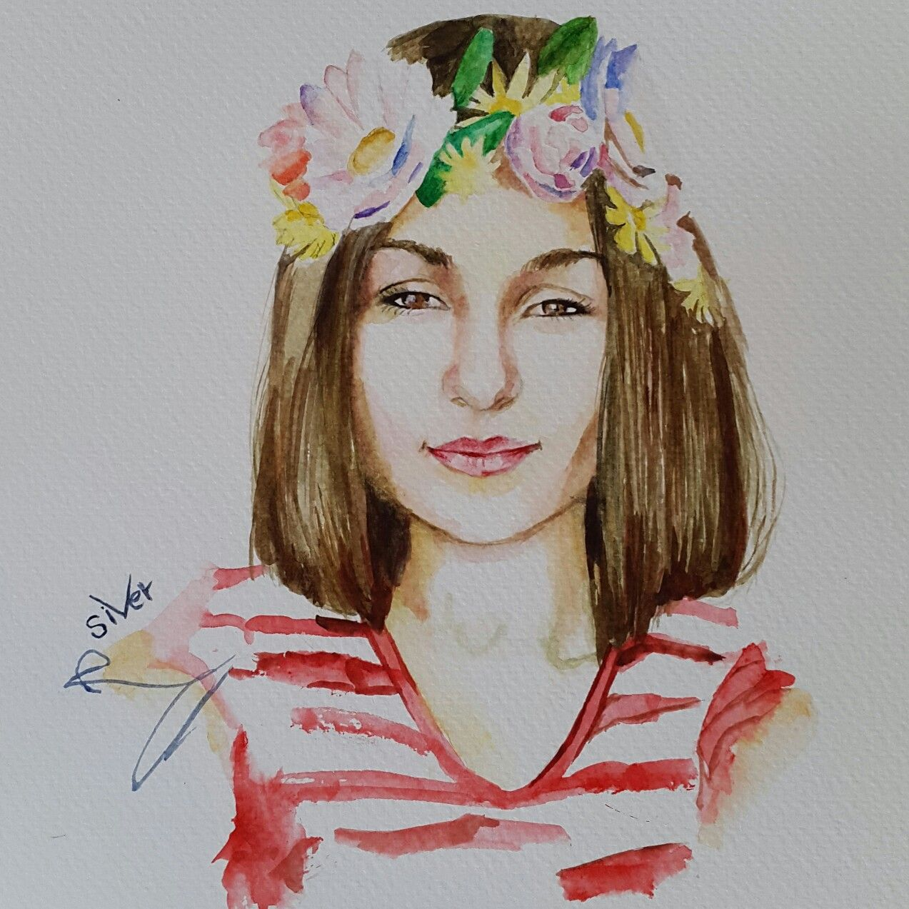 watercolor portrait girl snapchat filter painting by siver