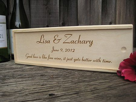 Personalized Engraved Wood Wine Box Wedding Or Anniversary Keepsake Gift