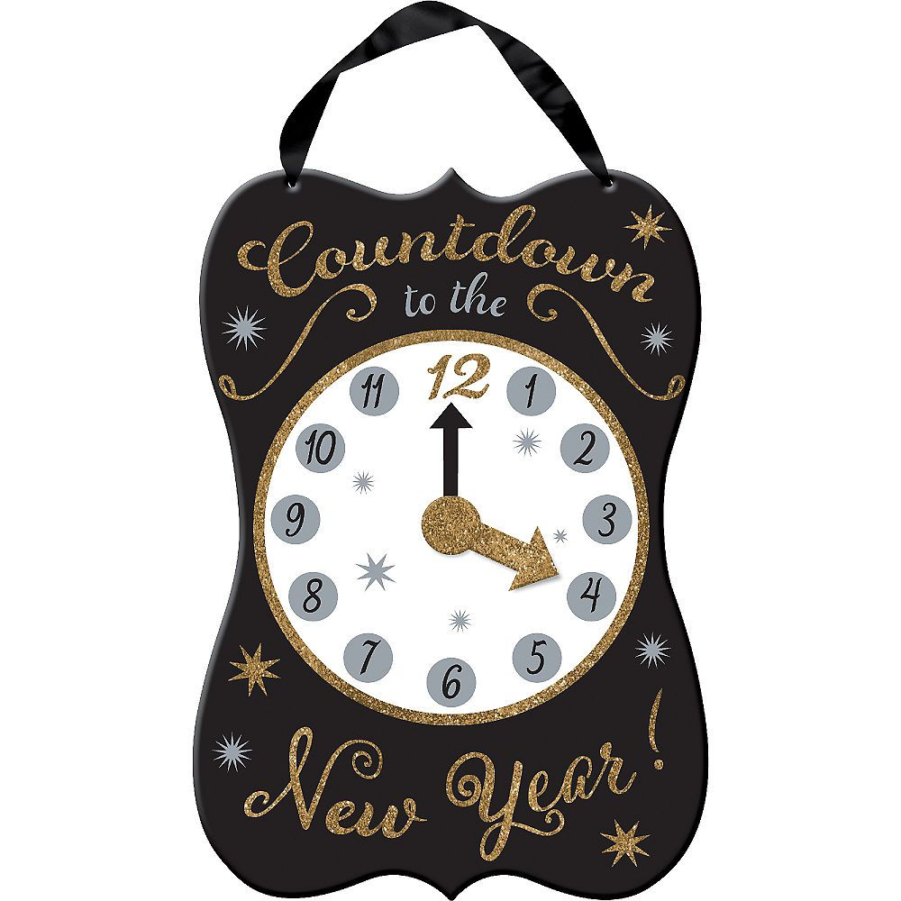 Glitter Clock New Year's Sign 11in x 15in Party City