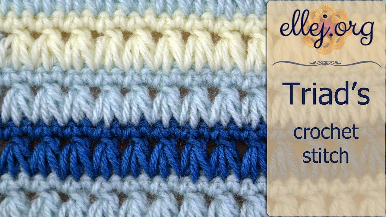 How to Crochet Triads Stitch ○ Free Step by Step Crochet Tutorial ...