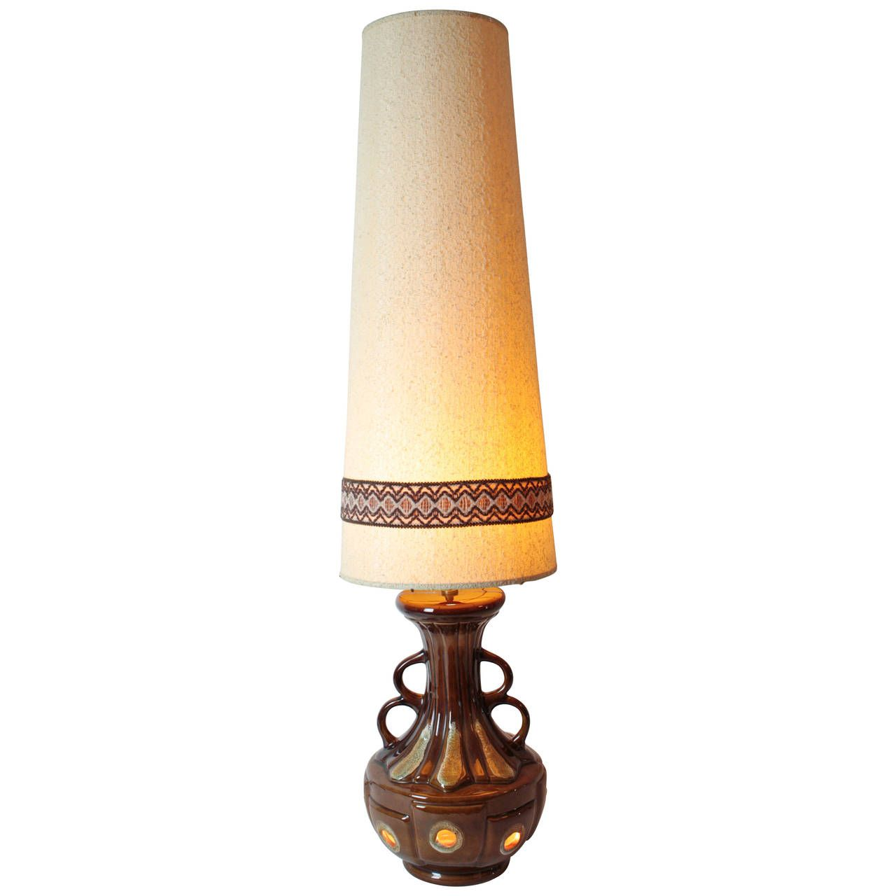 Massive Mid century Fat lava pottery table lamp with original tall shade. 1