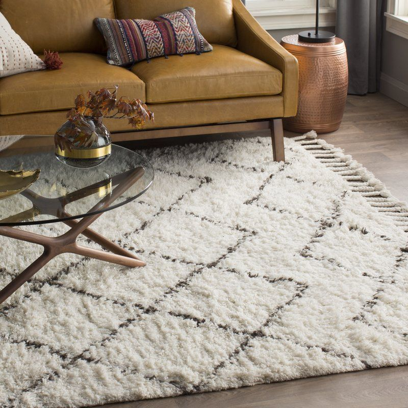 Twinar Geometric Hand Knotted Wool Off White Dark Gray Area Rug