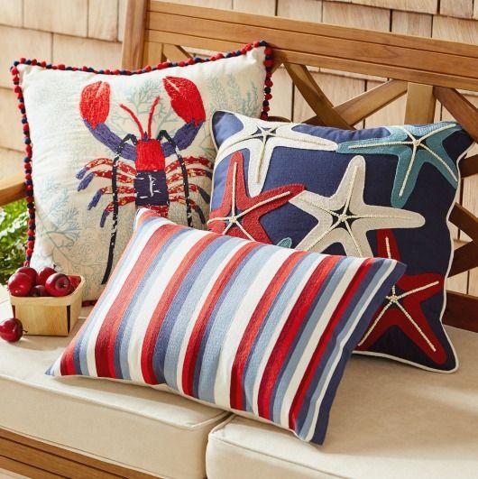 Photo of Pier 1 Coastal Pillow Collections:  Americana, Sea Life & Tropical