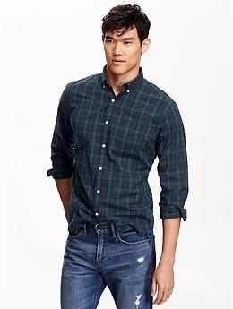 822258d53bc507 Men's Tartan Slim-Fit Poplin Shirt   Old Navy   For my man in 2019 ...
