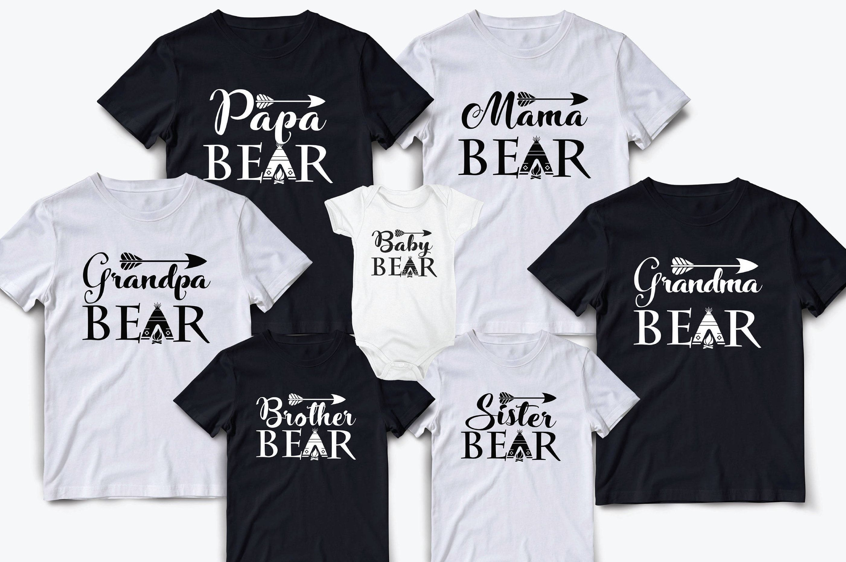 5e3a1433 Family shirts, Matching family shirts, Family matching outfits, Mama bear, Papa  bear, Family matching shirts set, Mama papa and baby shirts #cute ...