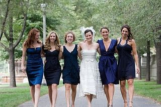 Navy blue bridesmaid dresses different styles and colors