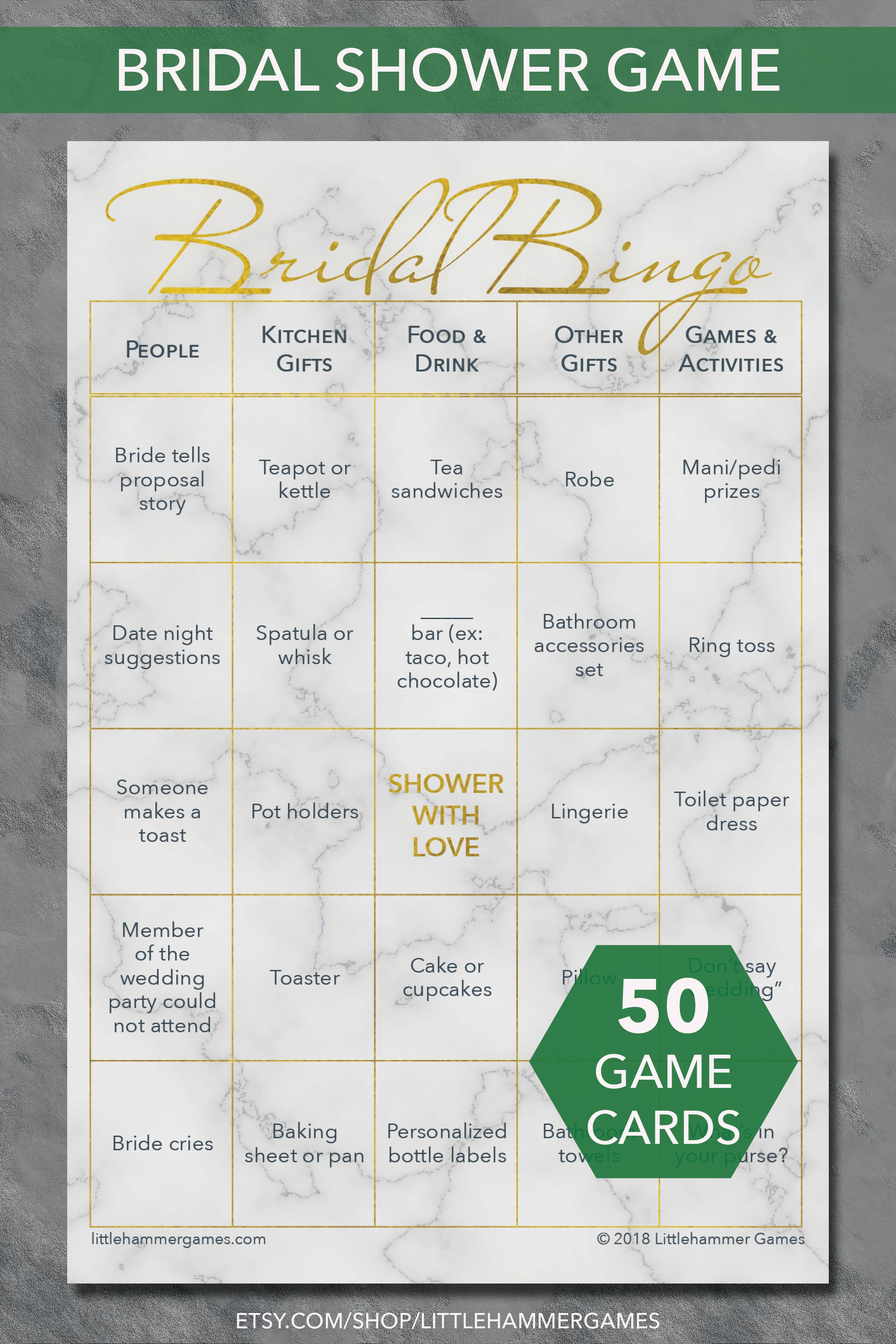 printable bridal shower game bridal bingo in a gold geometric design with a marble background 50 unique pre filled bridal bingo game cards