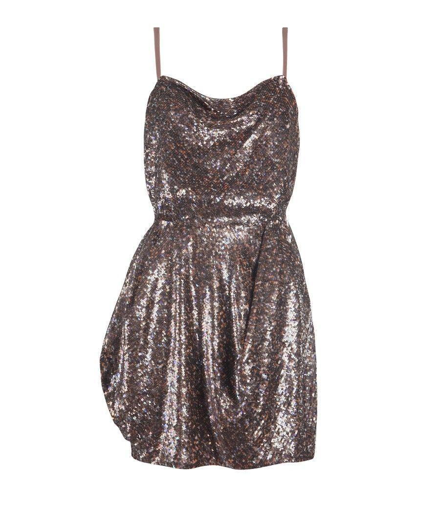 New All Saints VELUTINA Gold Bronze Sequin Evening Party Dress UK 12 ...