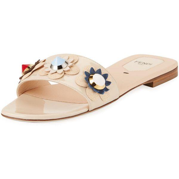 2755e1cfa2e4 Fendi Flowerland One-Band Flat Slide Sandal featuring polyvore women s  fashion shoes sandals beige shoes sandals slide sandals flat shoes studded  flats ...