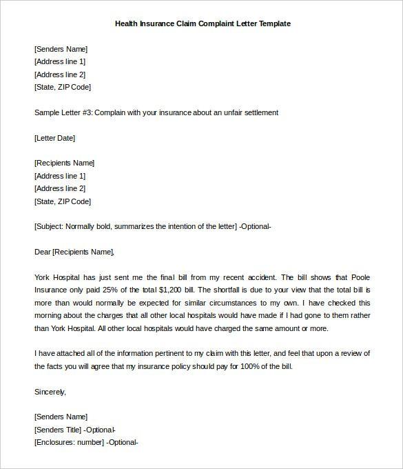 health insurance claim complaint letter template free goldfein - sample appraisal format