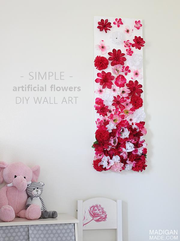 Modern Diy Artificial Silk Flower Wall Art For Girls