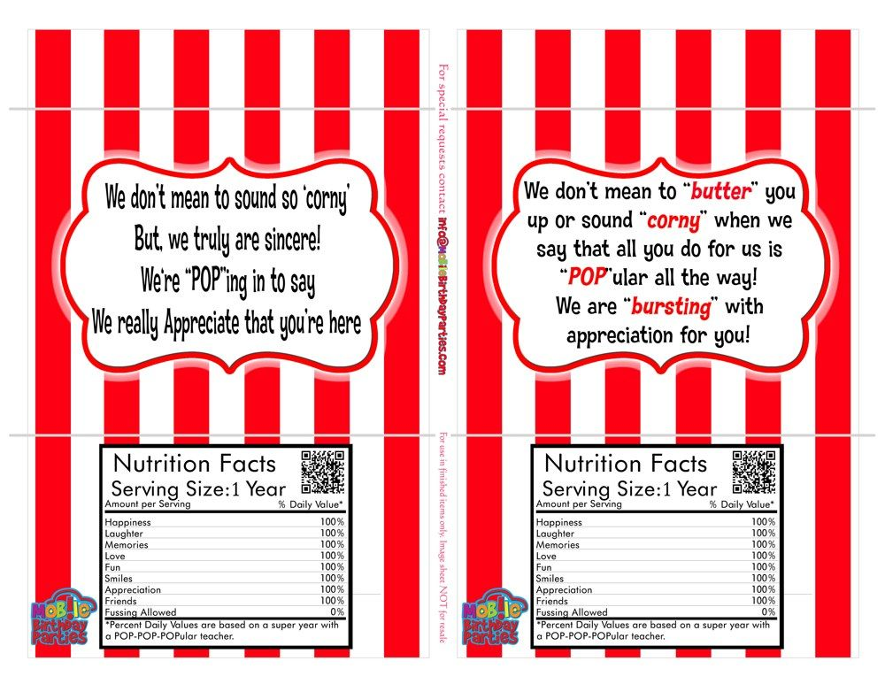 nearly FREE teacher appreciation popcorn sleeves