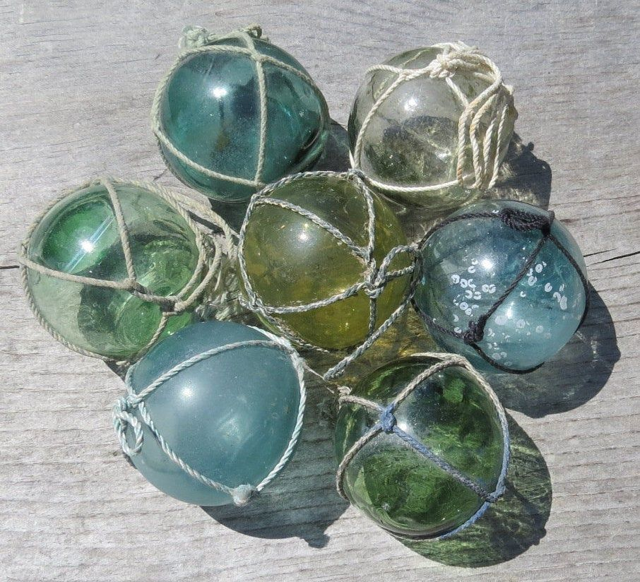 "Japanese Glass Fishing FLOATS 2/"" LOT-12 GREEN Netted Yard Tiki Garden Authentic"