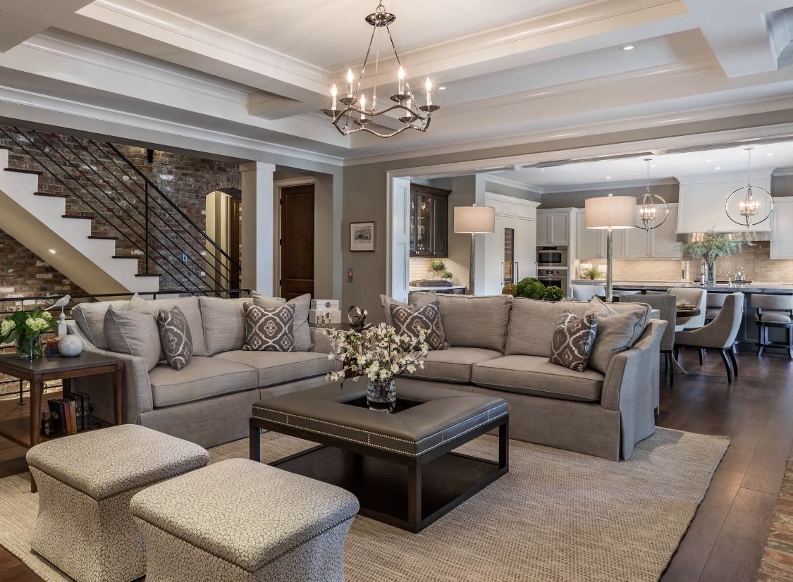 Traditional Farmhouse style living room in grey and beige ...